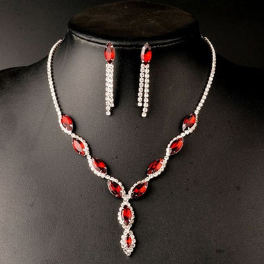 Christmas Estate Modernist Genuine Round Cut Red AAA Zircon Necklace And Tassel