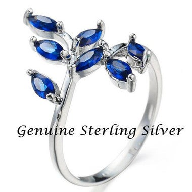 Leaves Royal Blue Czech Crystal Sterling Silver Ring