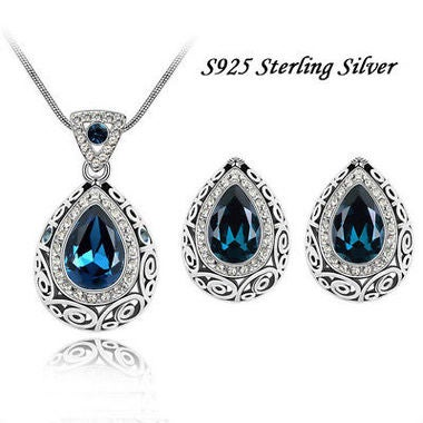 Exquisite Classic Genuine Pear Cut Sapphire Pendant Necklace And Earring Set 925