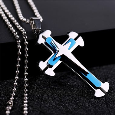 Titanium Classic Cross Necklace with Bead Chain