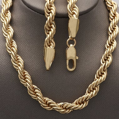 Thick 8mm Rope Link Chain 30 Inches, Gold Filled