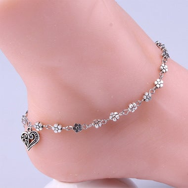 2017 Hot!Women Silver Bead Chain Anklet Ankle Bracelet Barefoot heart shaped San