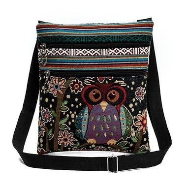 Women Shoulder Bag Top Quality Handbag Embroidered Owl Tote Postman Package