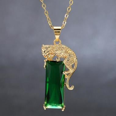 Leopard Green cubic zircon Cut pendant Yellow gold Filled necklace