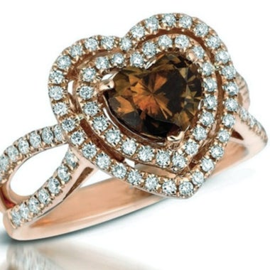 Halo Heart Chocolate CZ ring #829