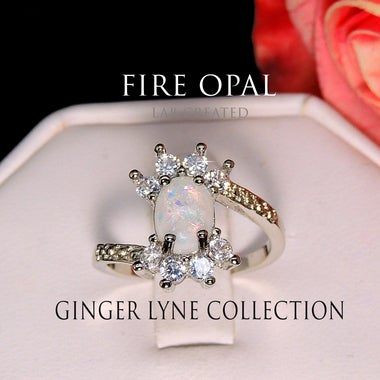 Zaire Oval Shape Lab Created Fire Opal Clear CZ Ring Ginger Lyne Collection