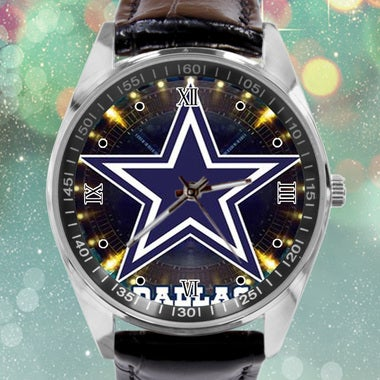 Dallas Cowboys Image Custom Leather Band Quartz Sport Analogue Wrist Watch Best