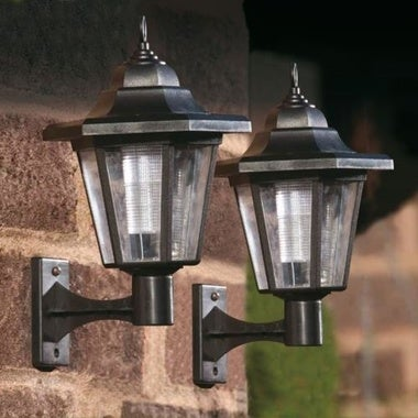 SOLAR POWERED LED OUTDOOR GARDEN FENCE WALL LANTERN LIGHT LAMP NEW quoted