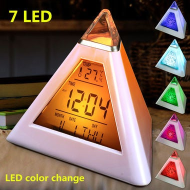 Pyramid Shape Digital Alarm Clock With Date Temperature 7 Colors LED Change