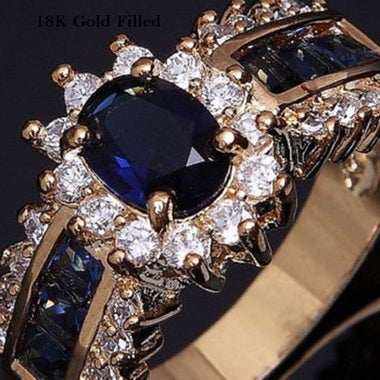 Gold Filled Blue CZ Wedding Ring