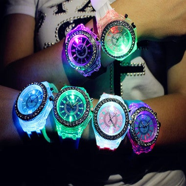 Luminous Unisex Glow In The Dark Silicone Crystal LED Bling Students Wrist Watch