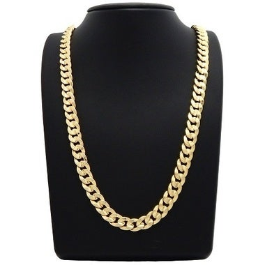 14K Yellow Gold Filled Men's necklace Solid Curb Link Chain24 inches