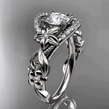 WGP cz flower and vine wedding engagement ring.