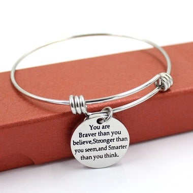Inspirational Motivational Pendant Bracelet Expandable Bangle XMAS Gift