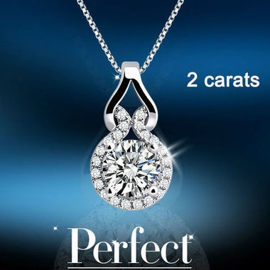 2CT Han Edition Delicate White Gold Color Pendant Necklace