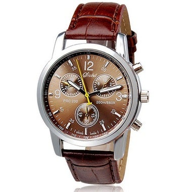 MENS BROWN LEATHER CHRONO WATCH