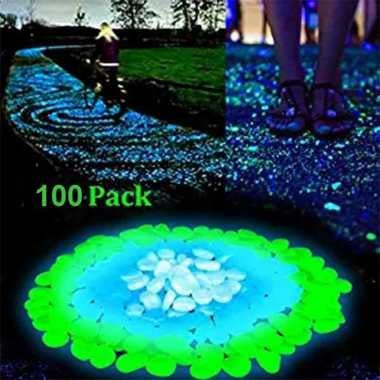 100 Pcs Glow Pebbles In The Dark Garden Pebbles For Walkways and Gardening Aquar