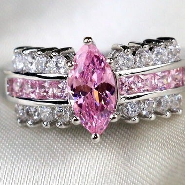 Women Halo Wedding 022 B Pink Ring