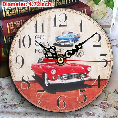 4.72inch Wooden Wall Clock Vintage Antique Style Shabby Chic Rustic Home