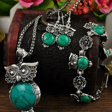 Vintage Natural Stone Jewelry Set Owl Necklaces Earrings Bracelets for Women Gif