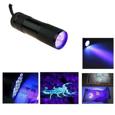 Black Mini Aluminum Portable UV Ultra Violet Blacklight 9 LED uv Flashlight Torc