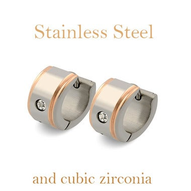 Unisex Stainless Steel Huggie Earrings with Cubic Zirconia Stones- Rose Gold