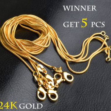 5 PCS Luxury Yellow Gold Filled Snake Necklace 18 inch