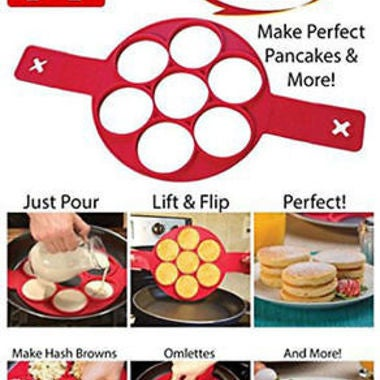 Flipping Fantastic Non Stick Pancake Maker Silicone Mold Egg Omelette Ring Maker