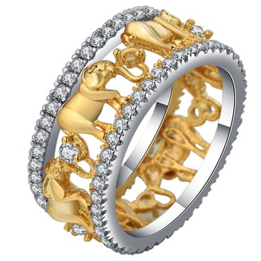 18K Gold Plated Lucky 3D Elephant Ring Romantic Zircon Ring For Man/Woman Jewelr