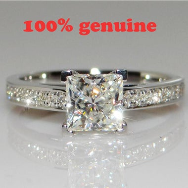 100% 3.5 Carats diamond and White Gold Enhanced Engagement Ring