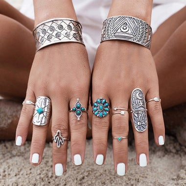 Bohemian Turkish Midi Ring Set Vintage Knuckle Rings for Women 9 pcs/set