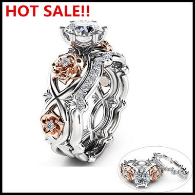 Womens Mens Couple Stylish Copper Party Wedding Retro Rings Bridal Set