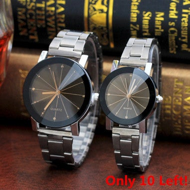 Fashion Women Men Stainless Steel Band Analog Gear Quartz Movement Wrist Watch