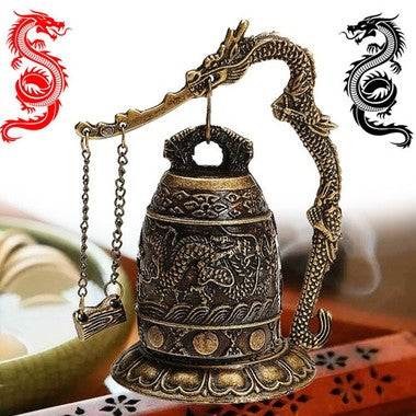 Zinc Alloy Vintage Bronze Lock Dragon Carved Buddhist Bell Good Luck Bell Chines