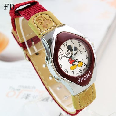 FD Casual Mickey Sports Watch mouse Pattern Students Fabric Nylon Strap High Qua