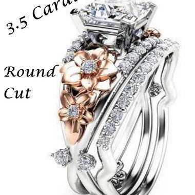 Brilliant Double Color Round Cut 3.5Ct Flower Ring