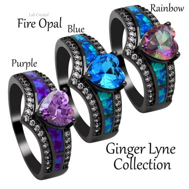 Mystic Purple CZ Black Plated Lab Created Fire Opal Ring - Ginger Lyne Collectio