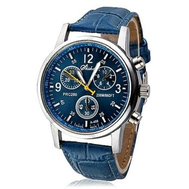 MENS BLUE LEATHER CHRONO WATCH