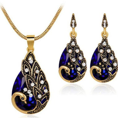 Exquisite Classic Genuine Waterdrop Blue AAA Zircon Peacock Pendant Necklace And
