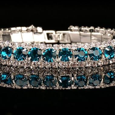 Natural London Blue AAA zircon 36 Carats Tennis Bracelet In White Gold Filled