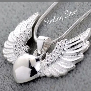 Elegant Sterling Silver Guardian Angel Wing Necklace