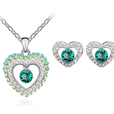 Shinning Modernist 2CTW Genuine Round Cut AAA Zircon Hollow Heart Halo Pendant N