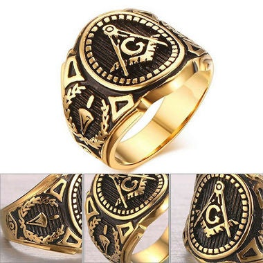 The golden Freemason marks the ring tide male character fashion ring