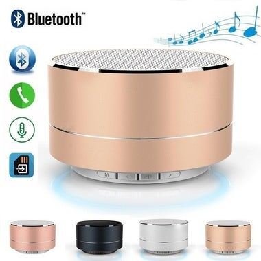 Bluetooth Speaker Portable Wireless Mini Round Box Loudspeaker Metal Steel Stere