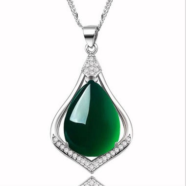Estate Modernist Genuine Waterdrop Green Jade Pendant Necklace In White Gold Fil
