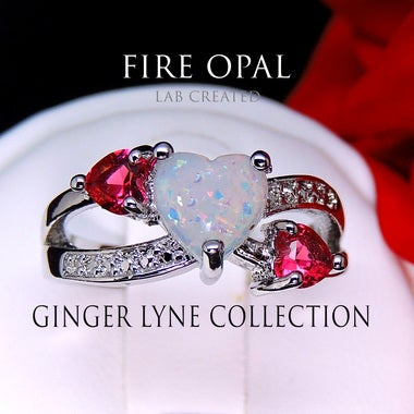 Vivecca Heart Shape Lab Created Fire Opal Red CZ Ring - Ginger Lyne Collection