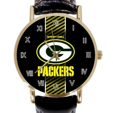 Green Bay Packer Custom Black Leather Watch Round watches Perfect Gift for Men a
