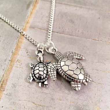 Turtle Necklace Mother Daughter, New mom turtle jewelry, Mother Child, Mother So