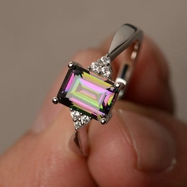 New Popular Ring Creative Europe and America Square Zircon Ring Fashion Jewelry