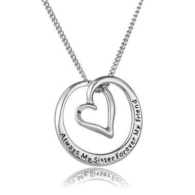 2018 Hot Always My Sister Forever My Friend Love Heart Pendant Necklace